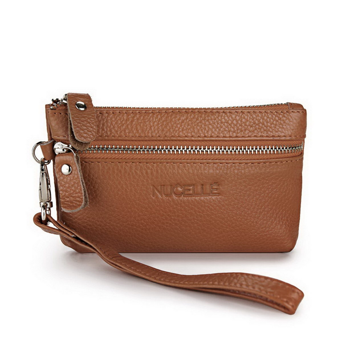 leather clutch bag Coffee