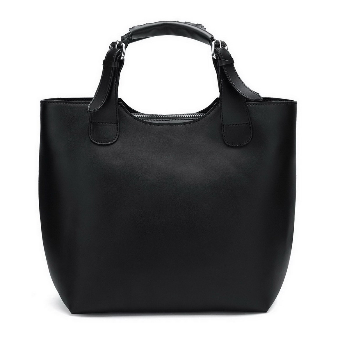 leather women Tote bag Black