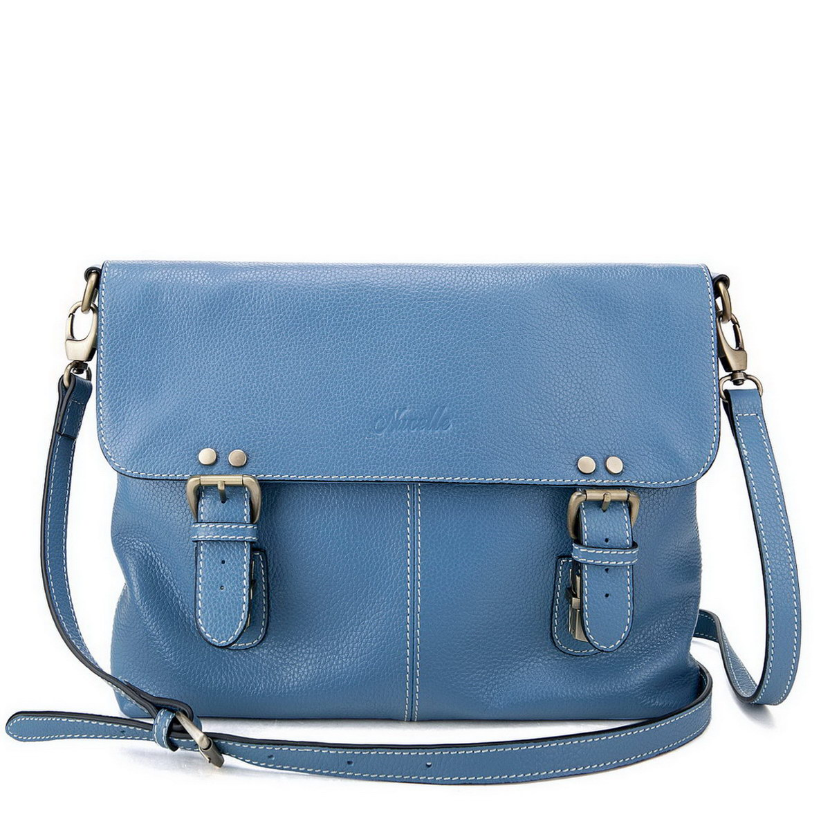 Cowhide leather messenger bag Blue a0036efa7e
