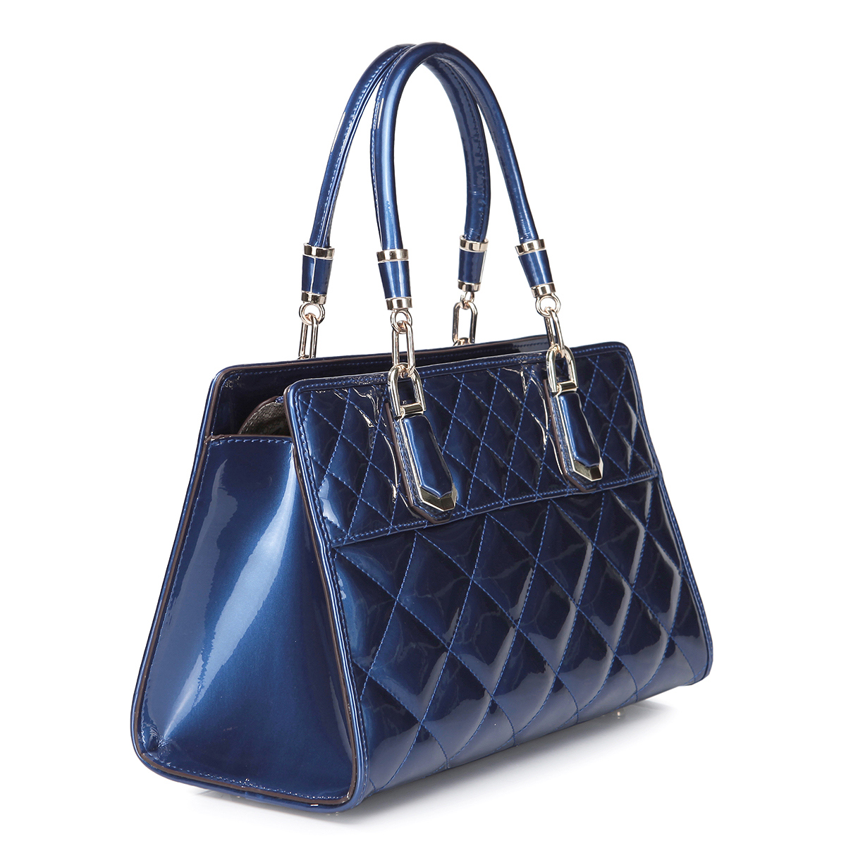 ... Home  Women's Bags  Tote Bags  Patent cowhide leather tote bag Blue
