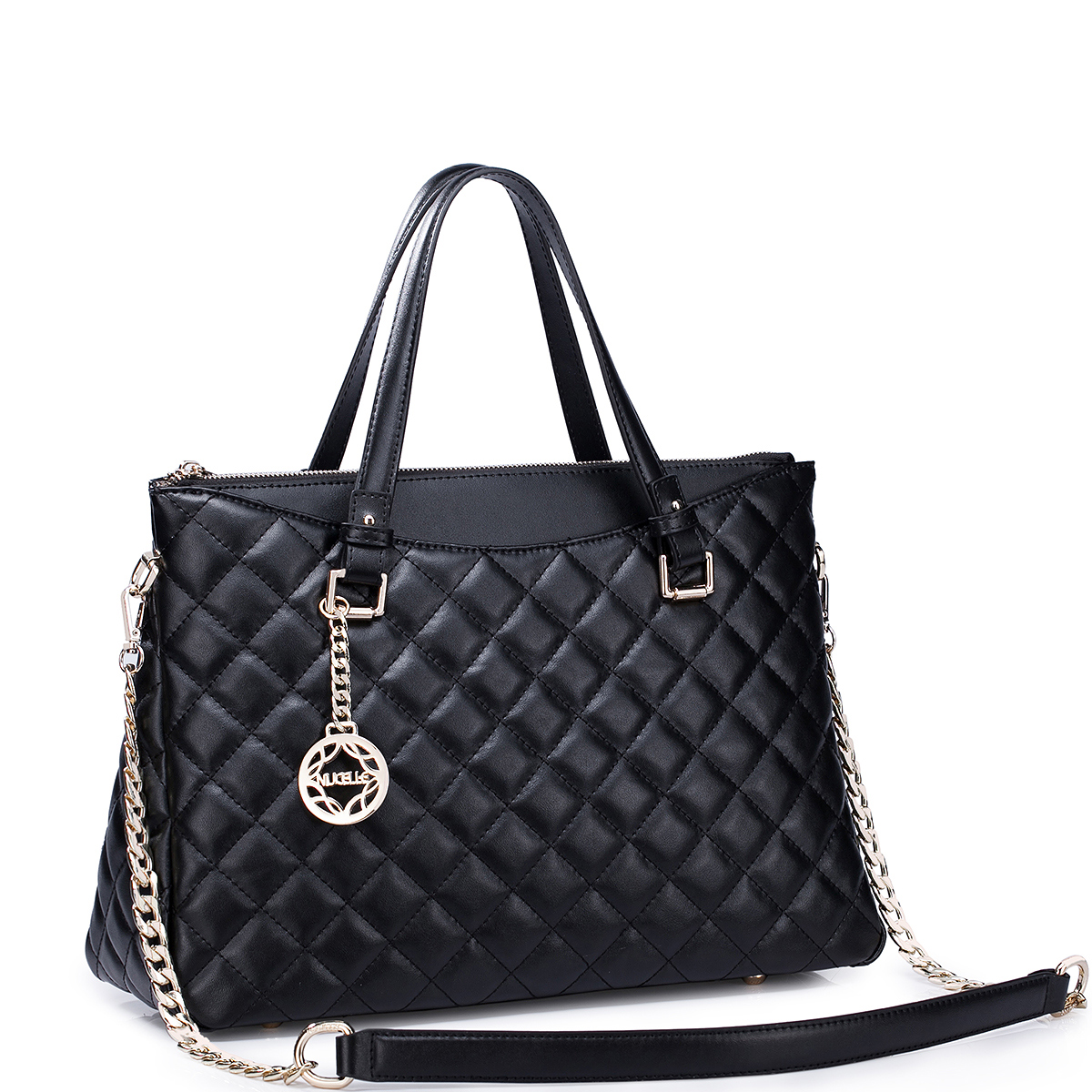 Luxury 2015 New Fashion Women Leather Handbag Tote Shoulder Bag Large Black