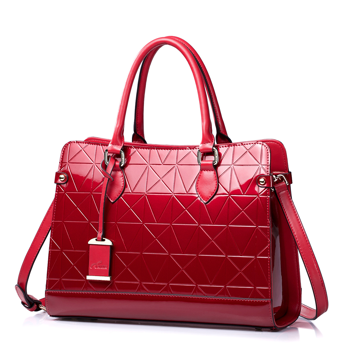 NUCELLE Cowhide women handbags Wine Red