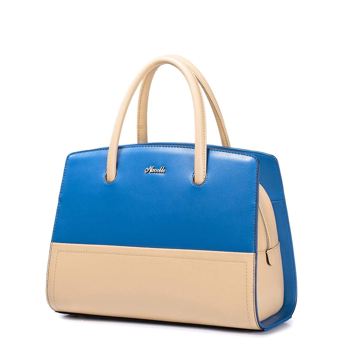 NUCELLE Cowhide leather lady bag Blue+Apricot
