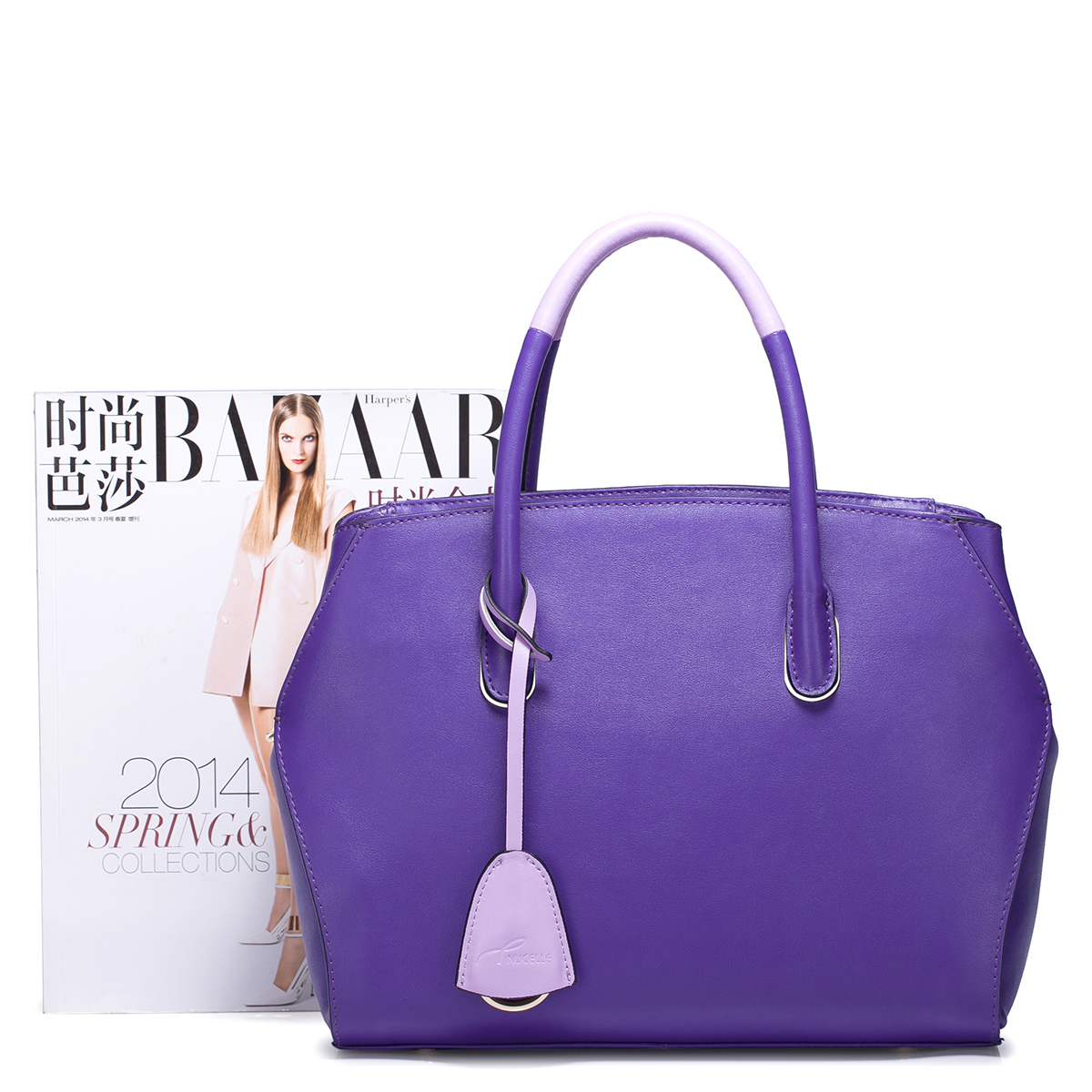 NUCELLE Genuine Cowhide Leather Handbags Purple