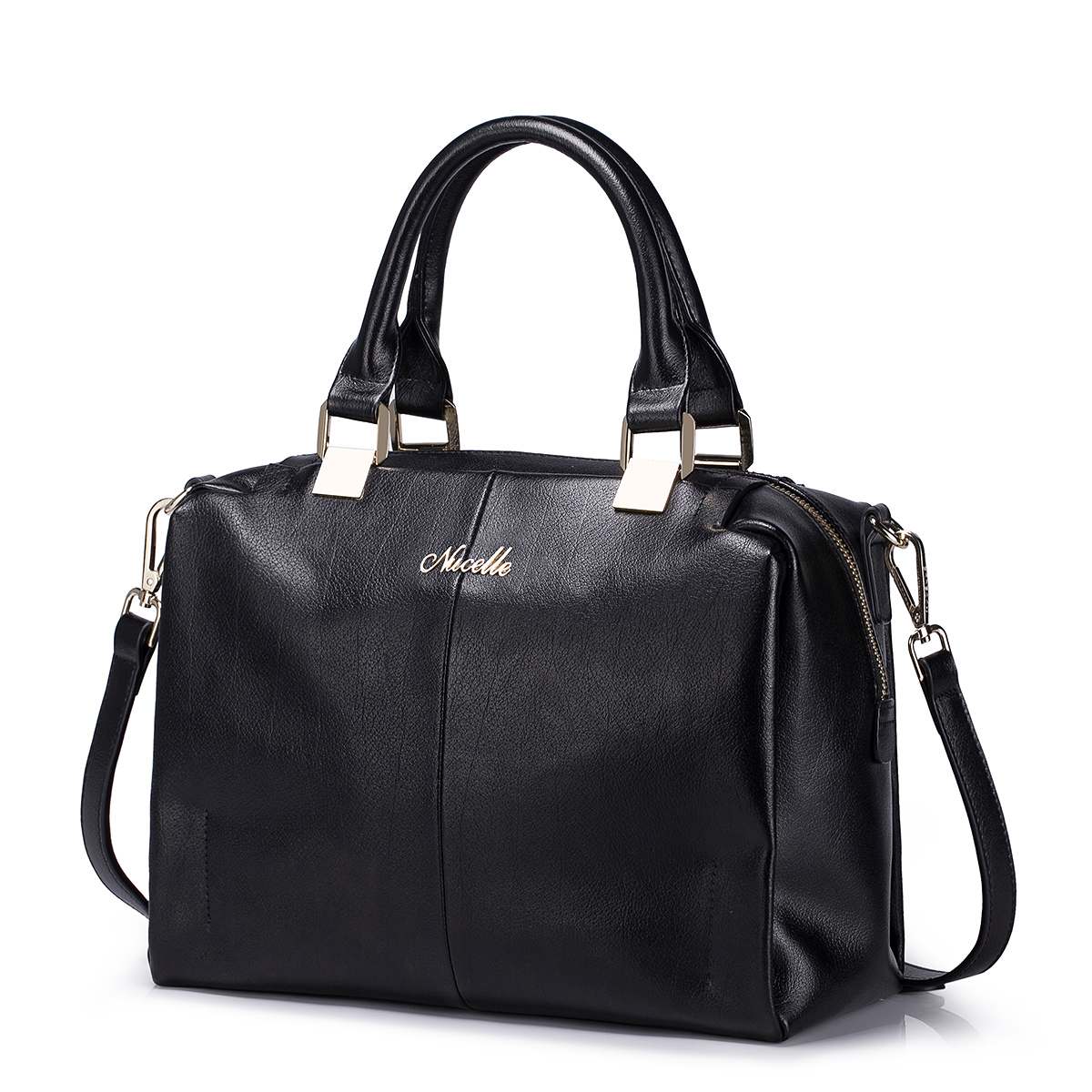 Solid color big size tote bag ladies leather bag black