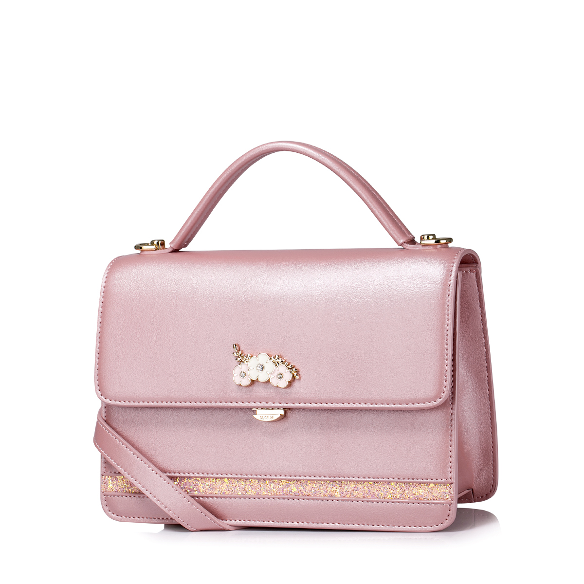 Nucelle Top Pu 2016 Autumn New Sweet Flower Kelly Bag Pink