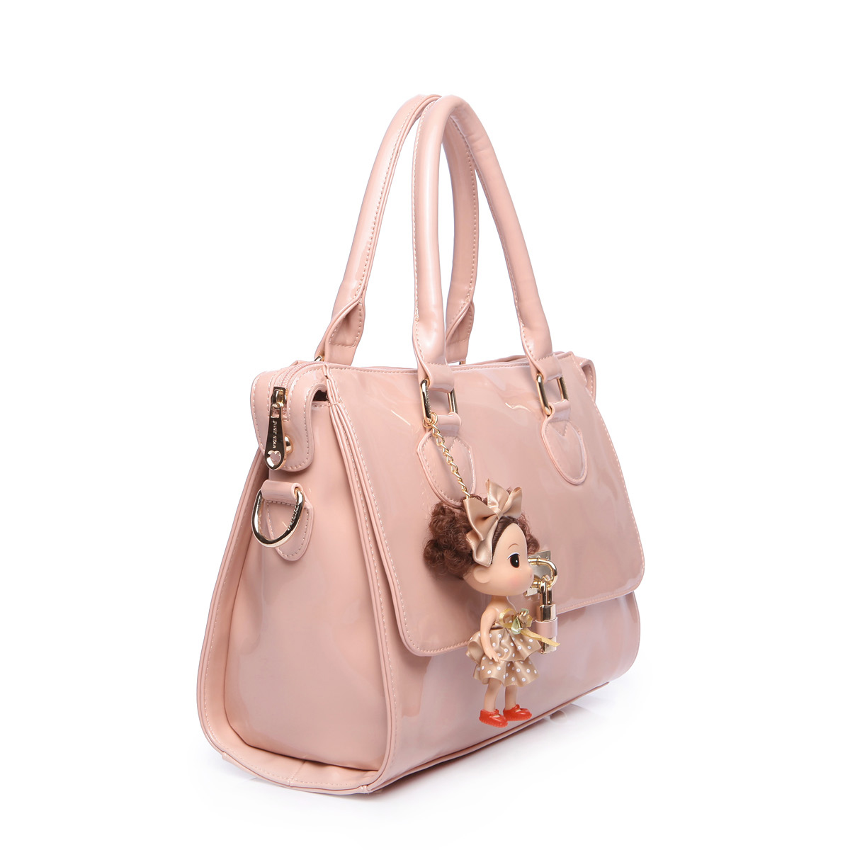 cartoon patent leather handbag Pink