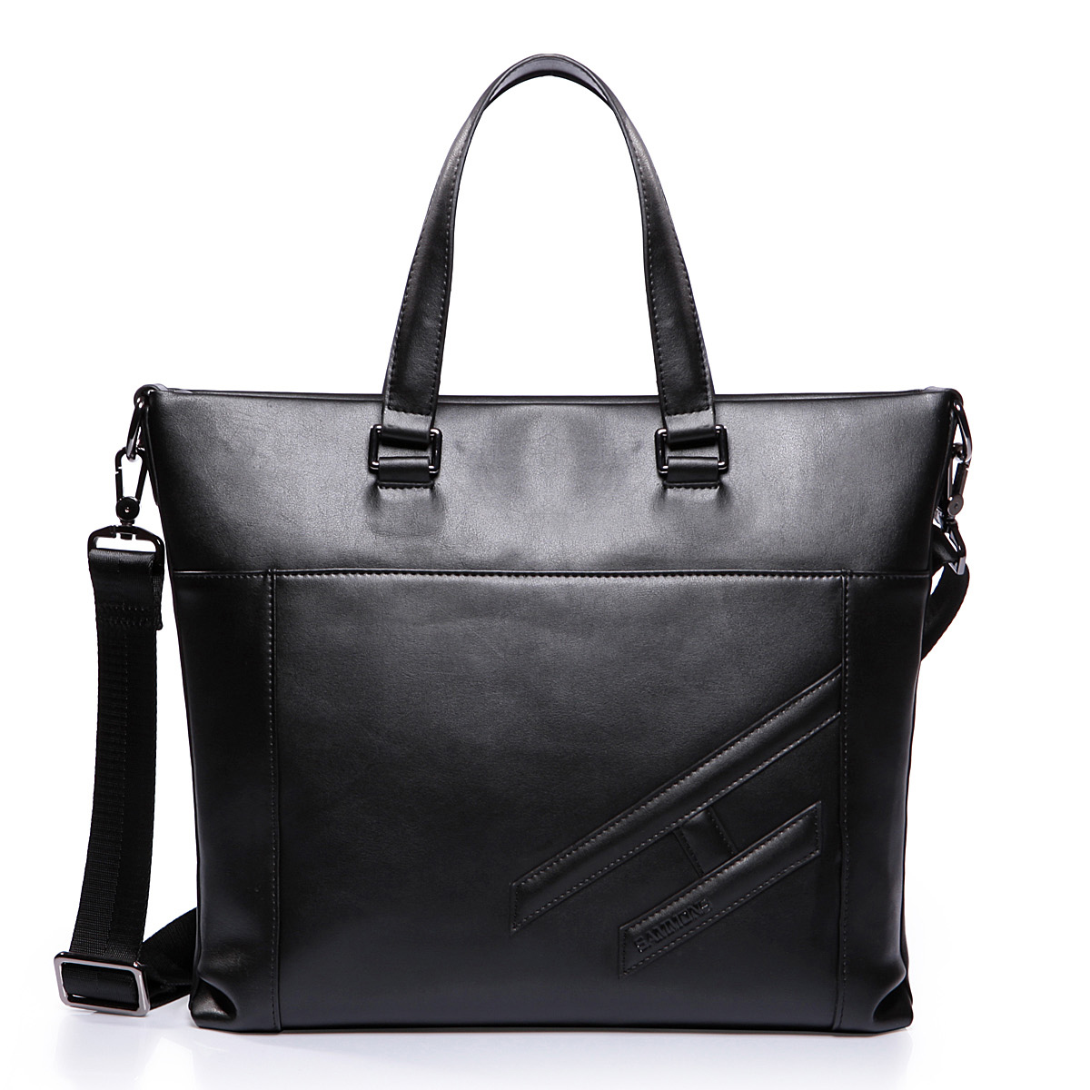 leather men bag Black