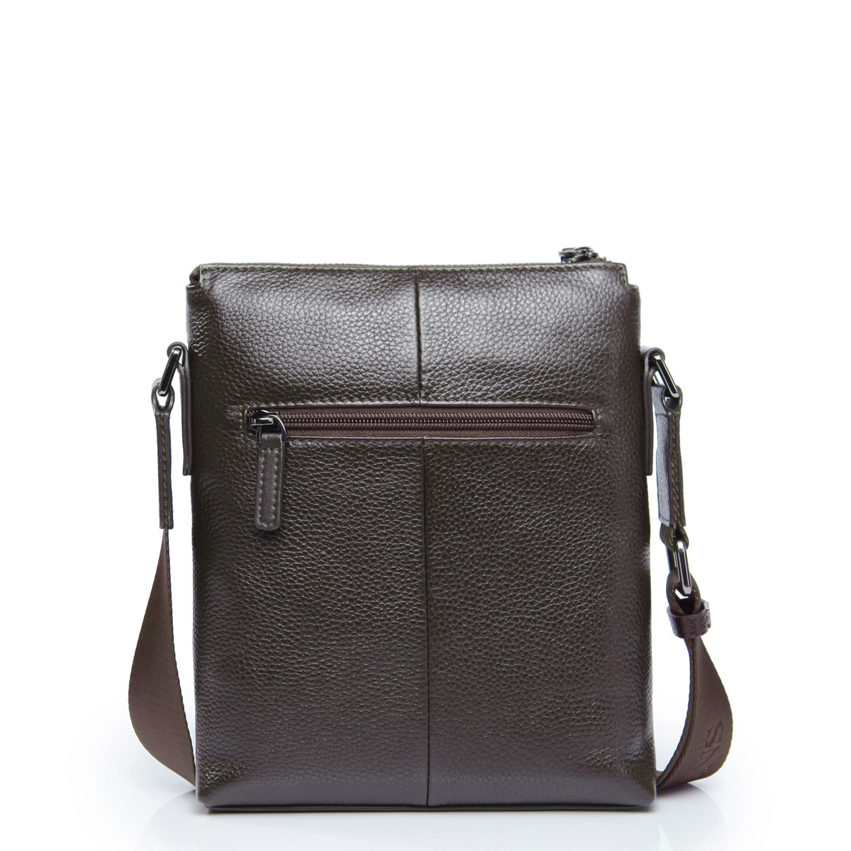 layer cow leather vertical messenger bag coffee