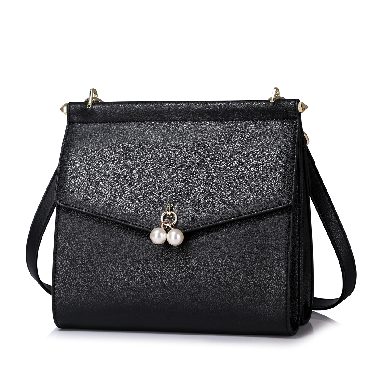 Genuine Leather 2016 Simple Pearl Decoration Shoulder Bag Black