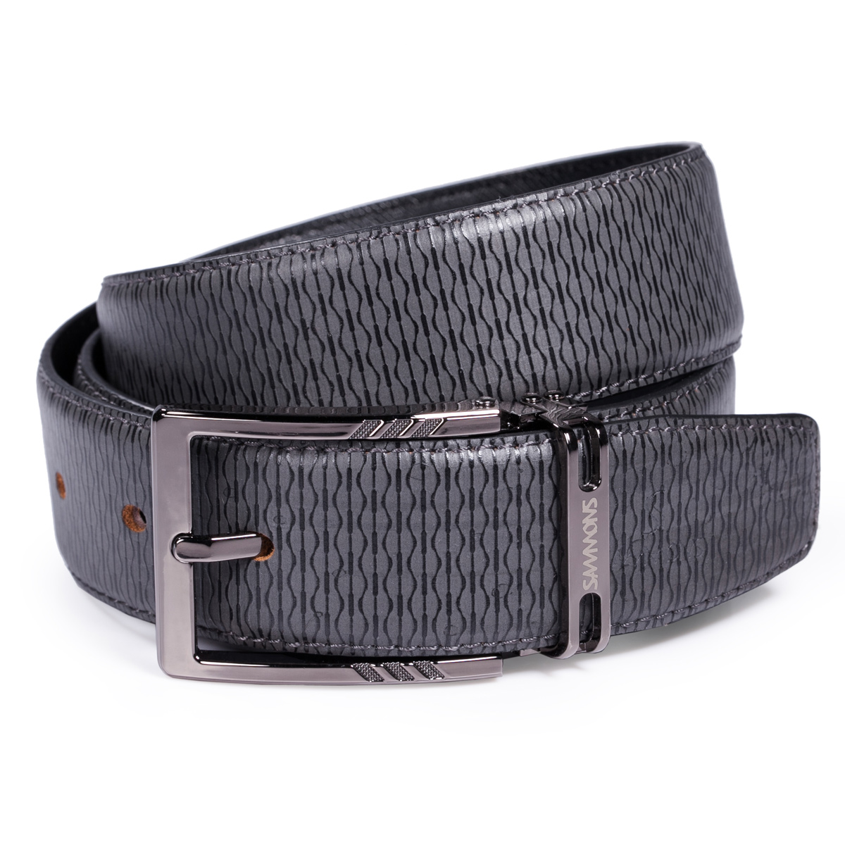 sammons series leather belt gray