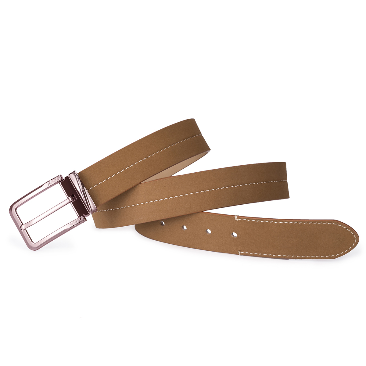 This belt is just what I want. High quality material and fashionable appearance. I saw the material is mainly synthetic leather before I bought it, but when I received and tried it, I found it's surprisingly conformtable and just like genuine leather belt.