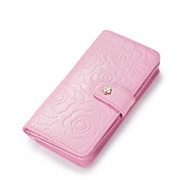 Delicate camellia Lady Long type leather wallet Pink,Casual bags, handbags wholesale, brand bags