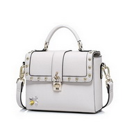 NUCELLE Top PU Leather 2017 Hot Selling Rivet Fashion Handbag Off-white,Casual bags, handbags wholesale, brand bags