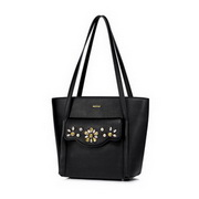 NUCELLE 2017 New Korea Style Hand Sewing Drill Tote Bag Black,Casual bags, handbags wholesale, brand bags
