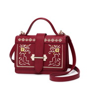 JUST STAR PU 2017 New Embroidered Fashion Shoulder Bag Red,Casual bags, handbags wholesale, brand bags
