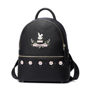 JUST STAR PU 2018 New Cute Embroidery Backpack Black,Casual bags, handbags wholesale, brand bags