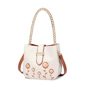JUST STRA PU 2018 New Fresh Embroidery Bucket Bag White,Casual bags, handbags wholesale, brand bags