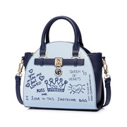 JUST STAR PU 2018 New Special Graffiti Printing Wing Bag Blue,Casual bags, handbags wholesale, brand bags