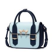 JUST STAR PU 2018 New Contrast Color Handbag Blue,Casual bags, handbags wholesale, brand bags