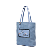 JUST STAR PU 2018 New Jean Fabric Embroidery Tote Bag Blue,Casual bags, handbags wholesale, brand bags
