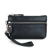 Genuine leather clutch bag Black