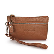 Genuine leather clutch bag Coffee