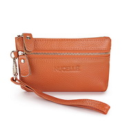 Genuine leather clutch bag Orange