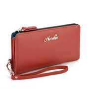 Cowhide leather women wallet Red