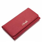 Elegant series cowhide leather long pattern lady wallet Red