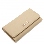 Elegant series cowhide leather long pattern lady wallet Apricot