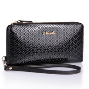 cowhide leather long style wallet black