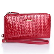 cowhide leather long style wallet red