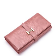 Women leather snake wallet Pink