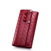 Three fold long style wallet Red