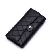 NUCELLE embroidery cowhide leather wallet Black