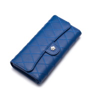 NUCELLE embroidery cowhide leather wallet Blue