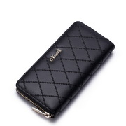 Fashion NUCELLE Long style leather zipper wallet Black