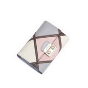 NUCELL Genuine Leather Top Selling Contrast Color Wallet Pink