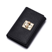 NUCELLE Sloid color women leather wallet Black