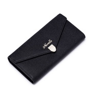 NUCELLE Women Genuine leather wallet long style Black