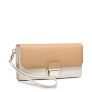NUCELLE Brand color blocking leather wallets Apricot