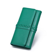 NUCELLE leather weave wallet Green