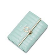 NUCELLE Modern geometric series leather Short wallet Green