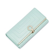 NUCELLE Modern geometric series leather long wallet Green