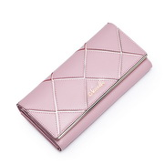 NECELLE Cowhide leather Lady Long Style Wallet Pink