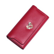 NUCELLE 2016 Cowhide Leather Vintage Style Wallet Red