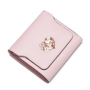NUCELLE Real Leather Latest Short Style Wallet Pink