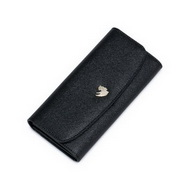 NUCELLE Cowhide Leather 2016 New Simple Long Style Wallet Black