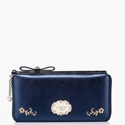 JUST STAR PU Leather Summer New Long Style Wallet Dark Blue